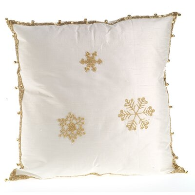Snowflakes Silk Throw Pillow Cover Size: 20 H x 20 W x 6 D, Color: Ivory