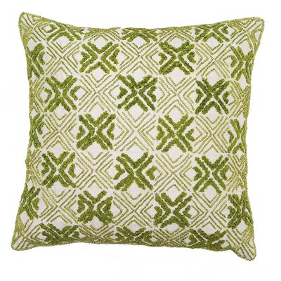 Embroidered Silk Throw Pillow Cover Color: Green