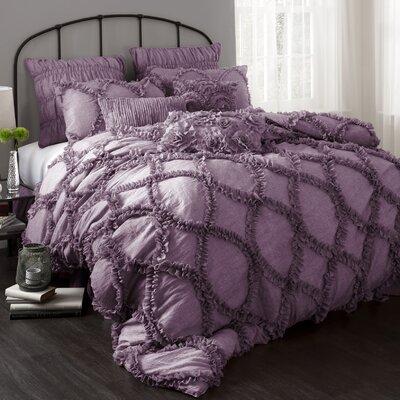 Riviera 3 Piece Comforter Set Size: King, Color: Purple