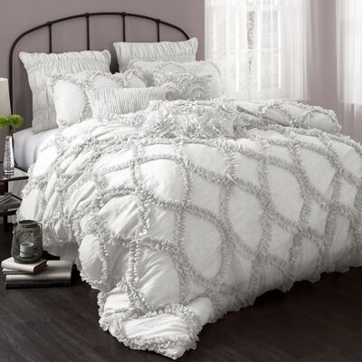 Riviera 3 Piece Comforter Set Size: King, Color: White