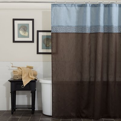 Geometrica Shower Curtain Color: Blue / Chocolate