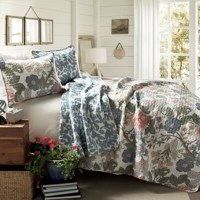 Granborough Cotton 3 Piece Reversible Coverlet Set Size: Full / Queen