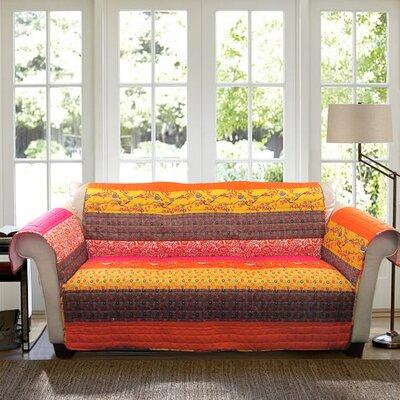 Somerton Box Cushion Sofa Slipcover Color: Orange Multi