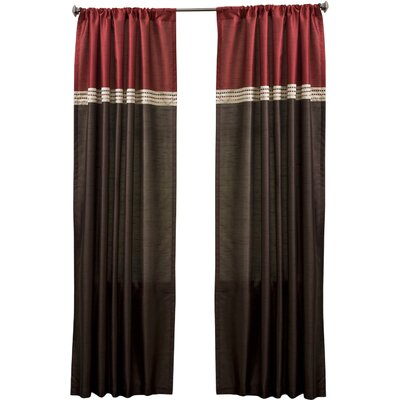Lush Decor Faux Silk Color-Block Rod Pocket Curtain Panel (Set of 2) - Size: 120