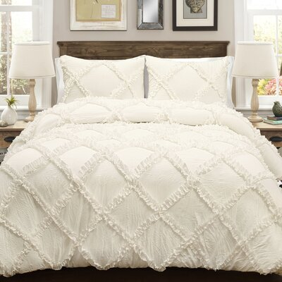 Ostrom 3 Piece Comforter Set Color: Ivory, Size: King