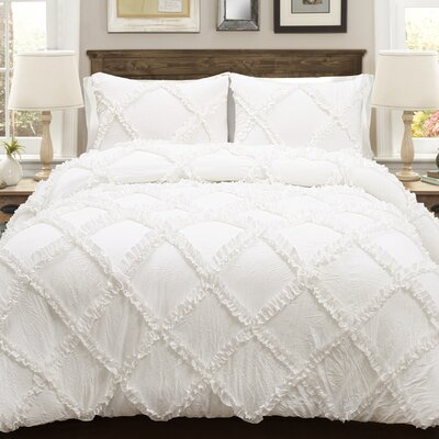 Ostrom 3 Piece Comforter Set Size: King, Color: White