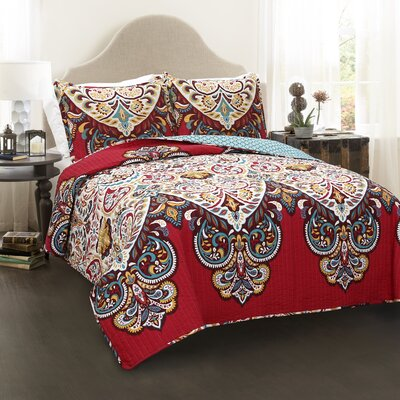 Corniche 3 Piece Reversible Quilt Set Size: Full/Queen