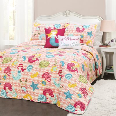 Alden 5 Piece Pink Reversible Quilt Set