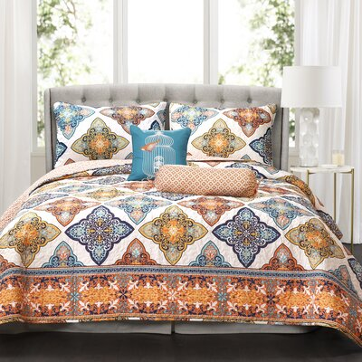 Cherie 5 Piece Reversible Quilt Set Size: Full/Queen