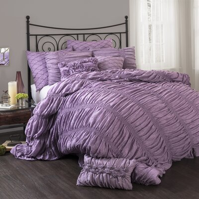 Madelynn 3 Piece Comforter Set Size: Queen, Color: Purple