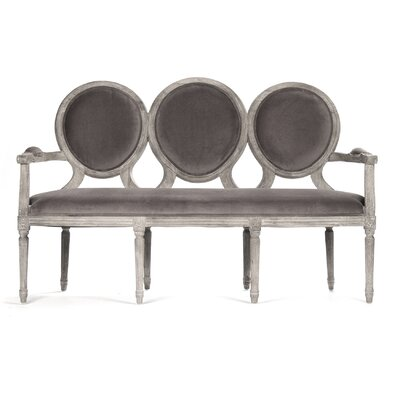 Medallion Settee Upholstery: Gray, Finish: Limed Gray