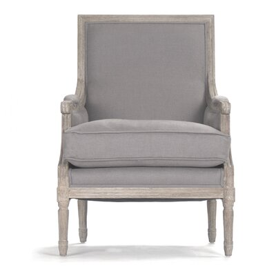 Louis Armchair Upholstery/Finish: Grey