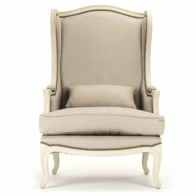 Eira Natural Linen Wingback Chair