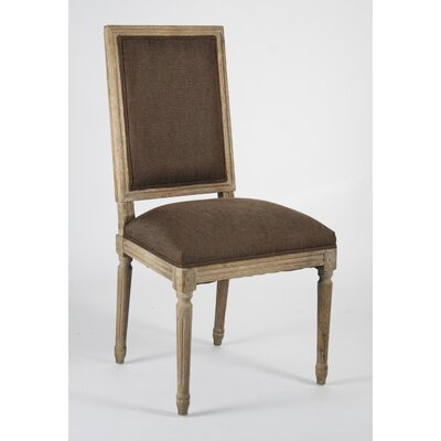 Louis Upholstered Dining Chair Finish: Grey Oak, Upholstery: Aubergine