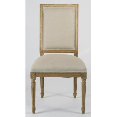 Louis Upholstered Dining Chair Finish: Charcoal Oak, Upholstery: Copper