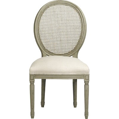 Medallion Solid Wood Dining Chair Upholstery: Lined Gray Oak with Natural Linen