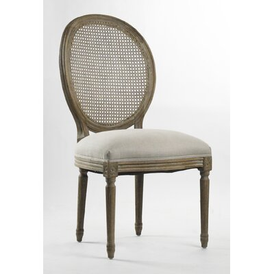 Medallion Solid Wood Dining Chair Upholstery: Natural Linen with full Olive Green