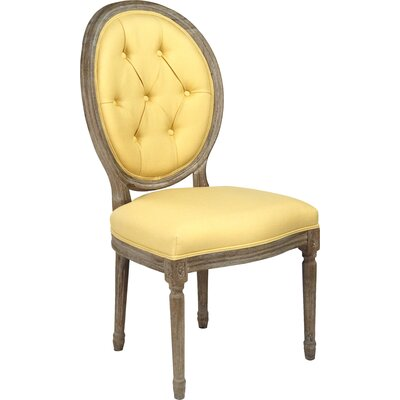 Medallion Upholstered Dining Chair Upholstery: Yellow