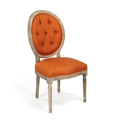 Medallion Upholstered Dining Chair Upholstery: Orange