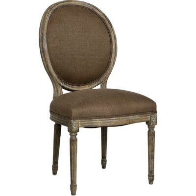 Medallion Side Chair in Linen - Aubergine Finish: Limed Grey Oak