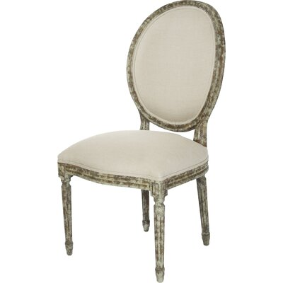 Medallion Side Chair in Linen - Natural Finish: Distressed Olive Green, Upholstery Color: Natural Linen