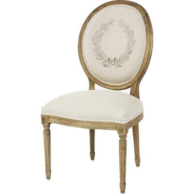 Medallion Side Chair in Linen - Printed Natural Finish: Reclaimed Elm