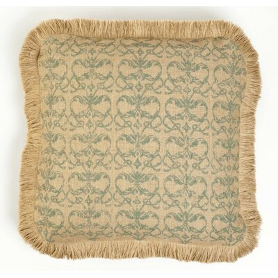 Jacia Damask Burlap Throw Pillow Color: Blue