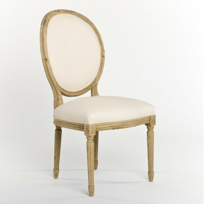 Arvidson Side Chair in Linen - Natural Finish: Natural Oak, Upholstery Color: Off-white Cotton