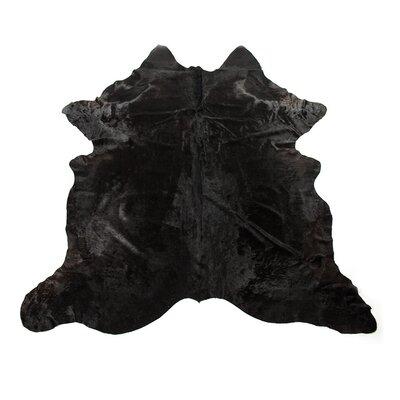 Dunneback Cowhide Solid Black Area Rug