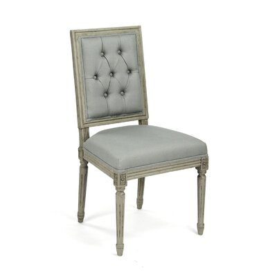 Louis Upholstered Dining Chair Finish: Grey / Green