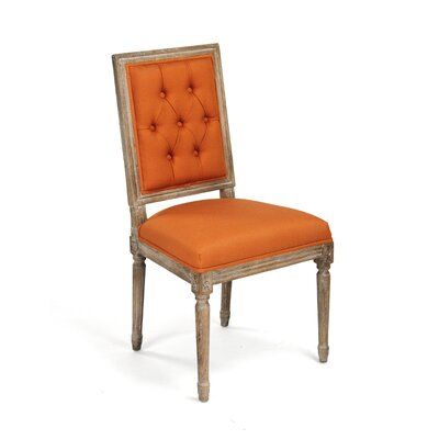 Louis Upholstered Dining Chair Finish: Orange