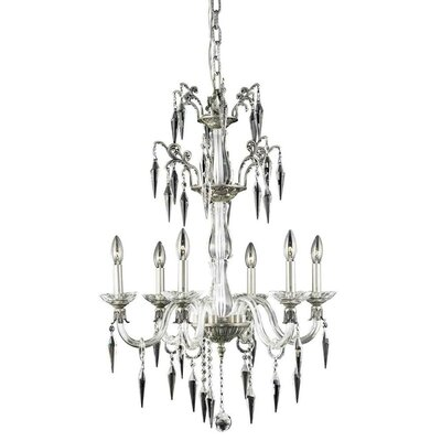 Shaina 6-Light Crystal Candle-Style Chandelier Finish: Pewter