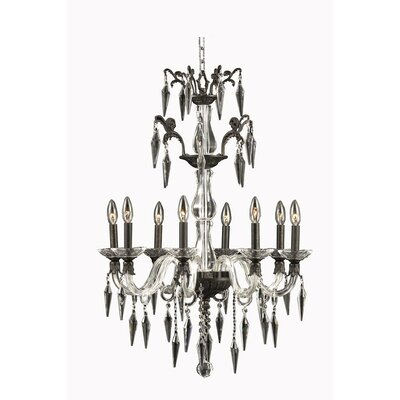 Shaina 8-Light Crystal Candle-Style Chandelier Finish: Pewter