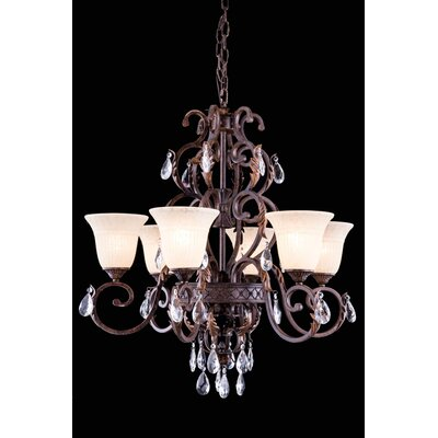 Buechler 6-Light Crystal Shaded Chandelier