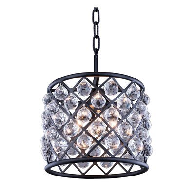 Morion 4-Light Drum Pendant Crystal: Silver Shade (Grey), Finish: Polished Nickel