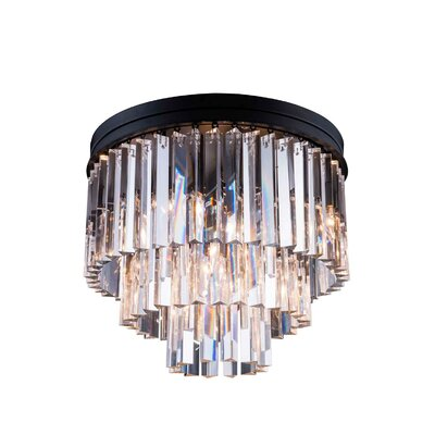 Lavinia 9-Light Flush Mount Finish: Polished Nickel, Crystal Color: Silver Shade (Grey)