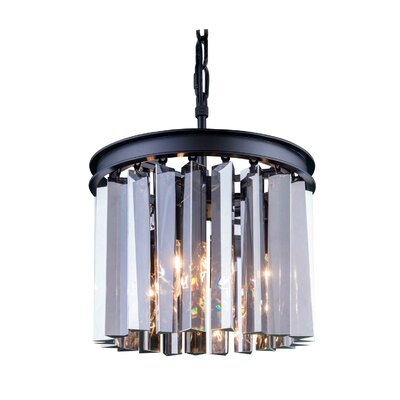 Sydney 3-Light Drum Pendant Crystal: Silver Shade (Grey), Finish: Polished Nickel, Size: 10.5 H x 16 W x 16 D