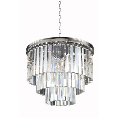 Sydney 6-Light Drum Pendant Crystal: Silver Shade (Grey), Finish: Mocha Brown