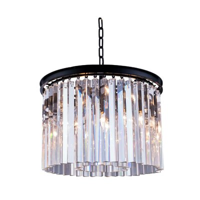 Lavinia 6-Light Drum Pendant Crystal: Golden Teak (Smoky), Finish: Polished Nickel