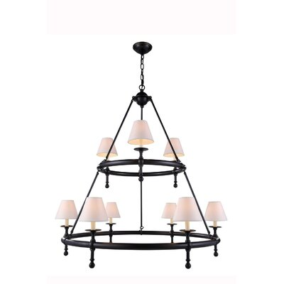 Troupsburg 9-Light Shaded Chandelier Finish: Black