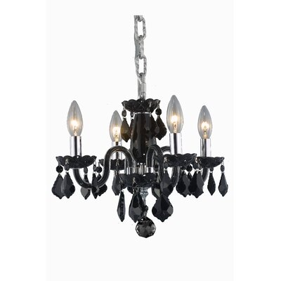 Lamy 4-Light Crystal Chandelier Finish: Black