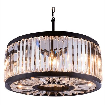 Chelsea 8-Light Drum Pendant Crystal: Golden Teak (Smoky), Finish: Polished Nickel