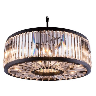 Dorinda�10-Light Chain Drum Pendant Finish: Polished Nickel, Crystal: Golden Teak (Smoky)