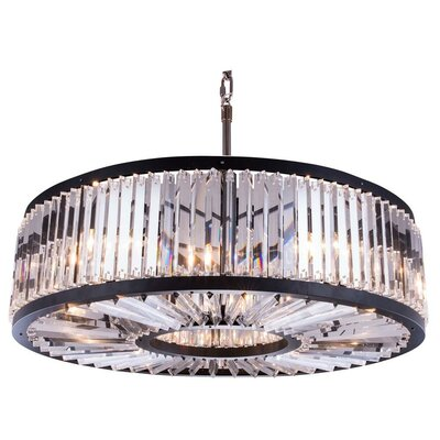 Chelsea 10-Light Drum Pendant Crystal: Golden Teak (Smoky), Finish: Polished Nickel