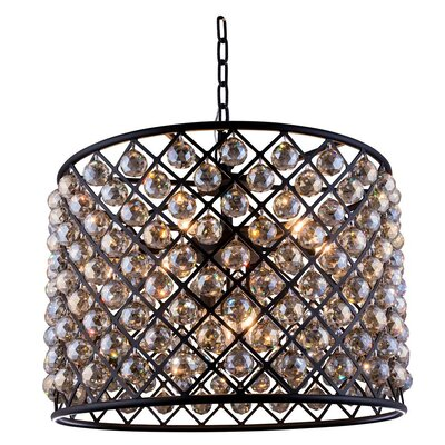 Morion 8-Light Drum Pendant Crystal: Golden Teak (Smoky), Finish: Mocha Brown