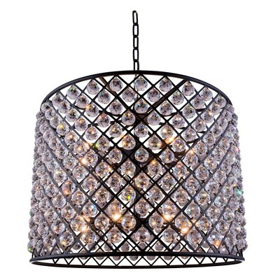 Morion 12-Light Drum Pendant Finish: Polished Nickel, Crystal: Golden Teak (Smoky)