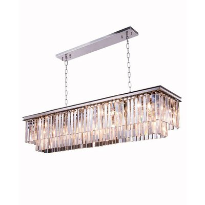 Lavinia 12-Light Crystal Pendant Crystal: Silver Shade (Grey), Finish: Polished Nickel
