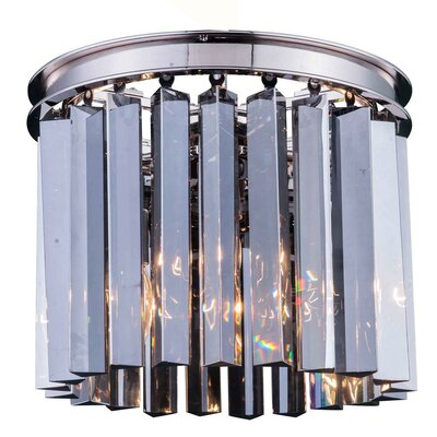 Lavinia 3-Light Flush Mount Finish: Polished Nickel, Size: 13 H x 12 W x 12 D, Crystal Color: Silver Shade (Grey)