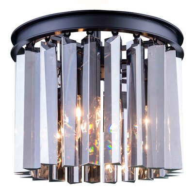 Lavinia 3-Light Flush Mount Finish: Mocha Brown, Size: 13 H x 12 W x 12 D, Crystal Color: Silver Shade (Grey)