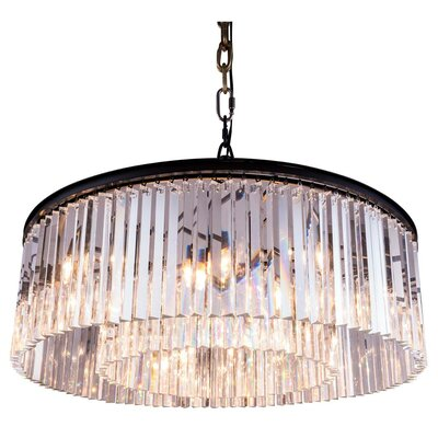 Lavinia 10-Light Drum Pendant Finish: Mocha Brown, Crystal: Golden Teak (Smoky)